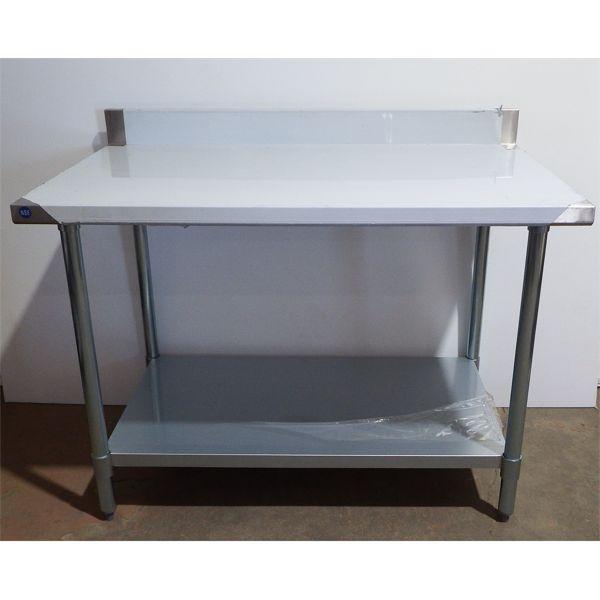 New 30'' x 48'' S/S Work Top Table with 4'' Back Splash, Galvanized Legs + Under Shelf