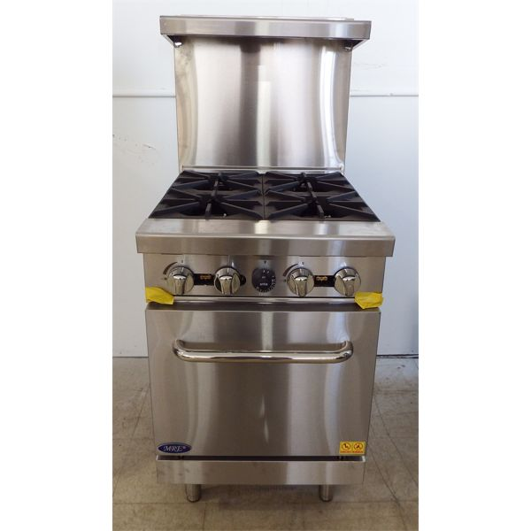 """New 24"""" Gas Range with (4)  cast iron open burners, 20"""" Oven, Total 124000 BTU."""