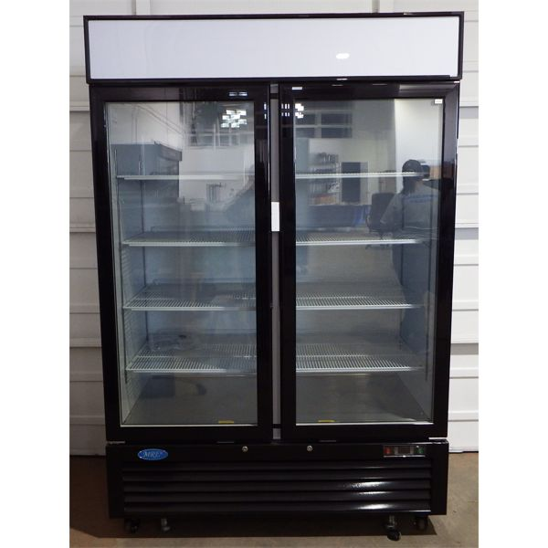New 54.4' Double Glass Door Reach In Cooler with LED Lighting - 46 cu. ft