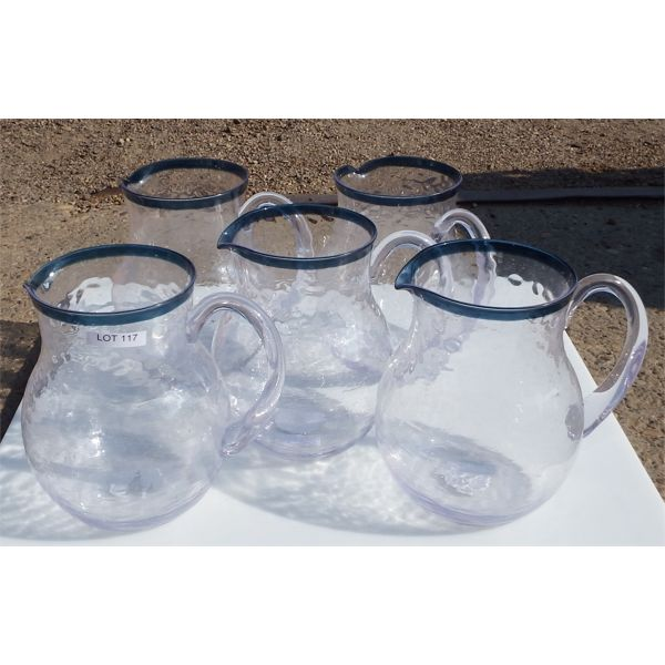 New - Lot of 5 Plastic Water Pitchers