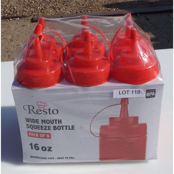 New - Lot of 6 16oz Wide Mouth Squeeze Bottles
