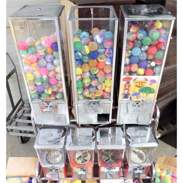 """Used - Folz 7 Compartment Candy/2"""" Toy Dispenser - 4-$0.25 Candy and 3-$1.00 Toy, All with locks"""
