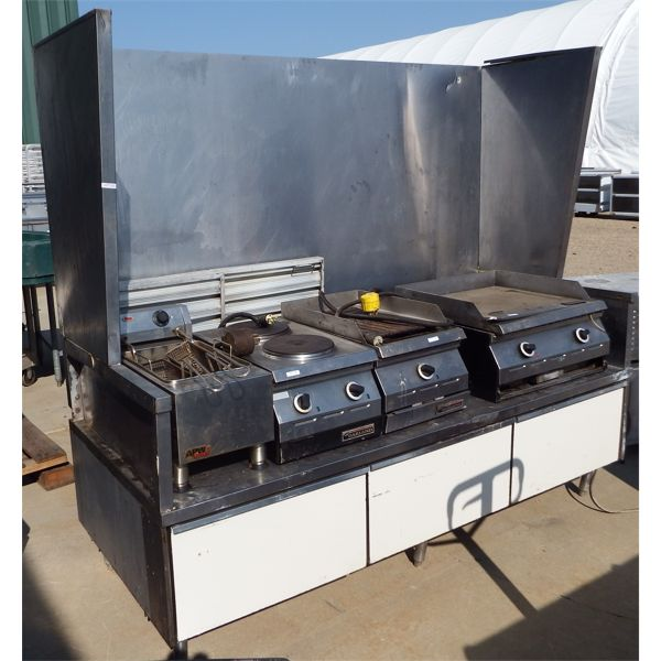 Used Custom Made Equipment Stand with Fire Suppression Hood Inc Chemical Tank Contents Not Included