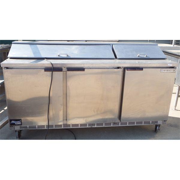 Used - Beverage-Air 2 Section Mega-Top Sandwich Prep Station,3 Door Cooler, on Casters
