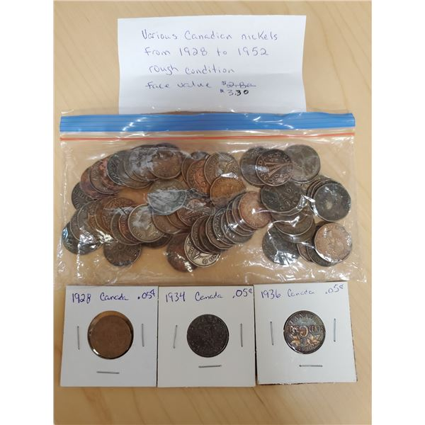 various canadian nickels 1928-1952 face value $3.30