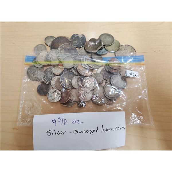 9 5/8 oz silver -damaged/worn coins