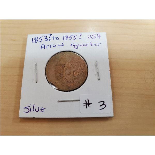 1853-1855? USA arrow quarter -silver