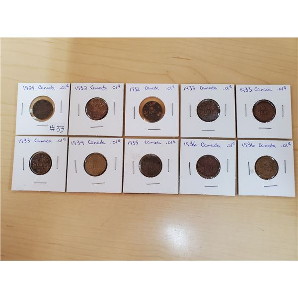 10 x 1929-1936 asst years canadian one cent