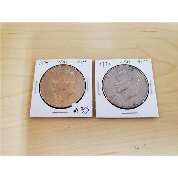 1972 D, 1974 D USA Eisenhower dollars
