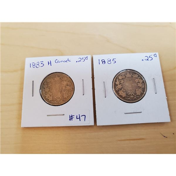 1883 H + 1885 canadian 25 cents