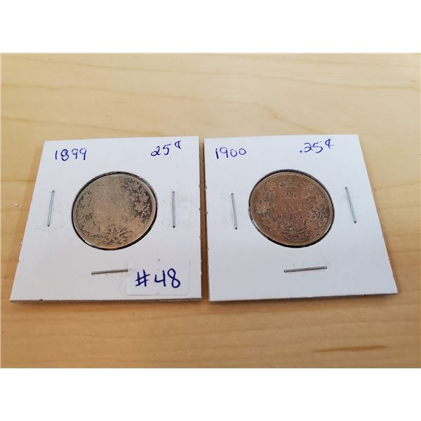 1899 + 1900 canadian 25 cents