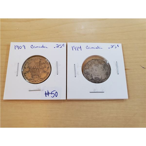 1909 + 1914 canadian 25 cents