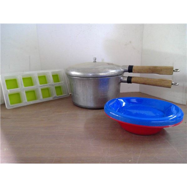 Pressure Cooker, camping plates, ice cube trays