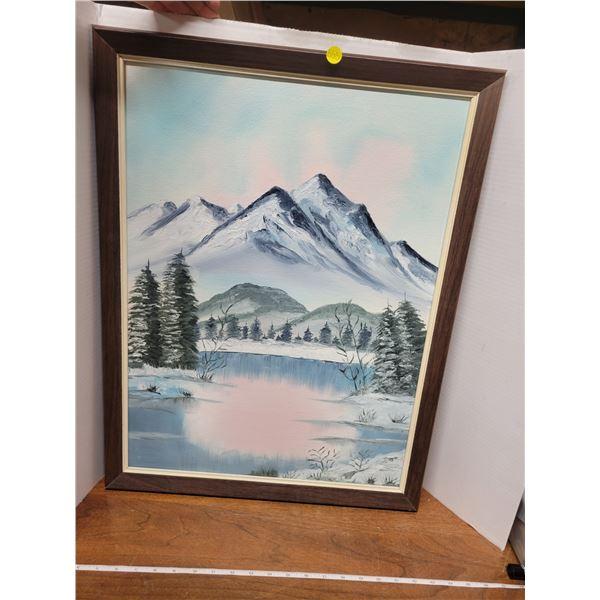 "Acrylic painting 18"" X 24"" mountain sunset"