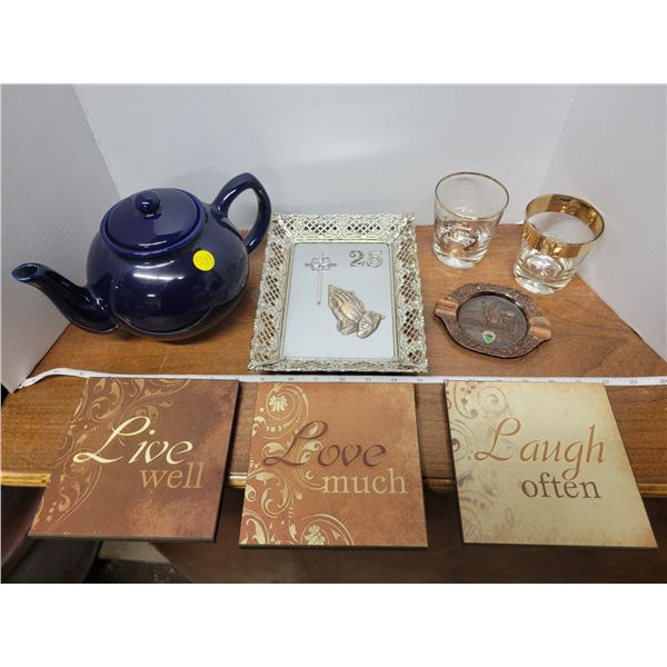 Teapot, 2 50th golden wedding glasses, 3 wall art, plaque, ash tray