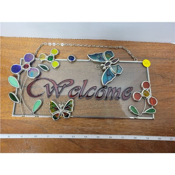 """stained glass """"Welcome"""" sign"""