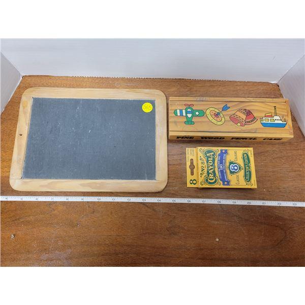 small school blackboard, wooden pencil box & crayons