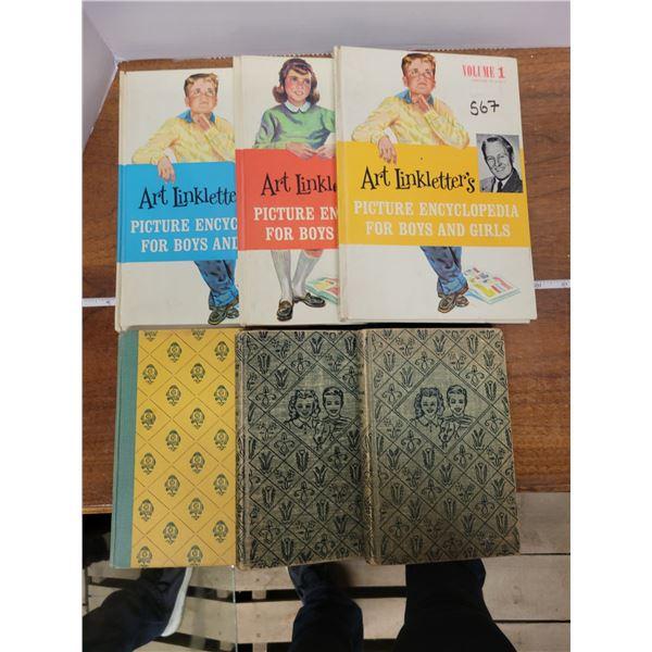 Vintage books - 3 Bobbsey twins & Volume 1, 2, 3 Picture Encyclopedias (Art Linklater)