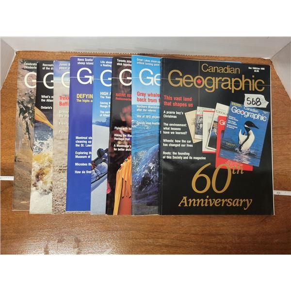8 Canadian Geographic magazines (1990)