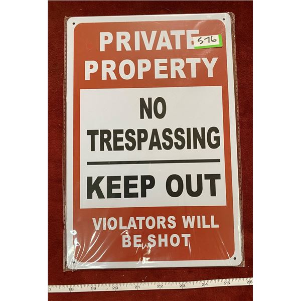 """""""Private Property"""" Tin Sign"""