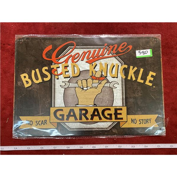 """""""Genuine Busted Knuckle"""" Tin Sign"""