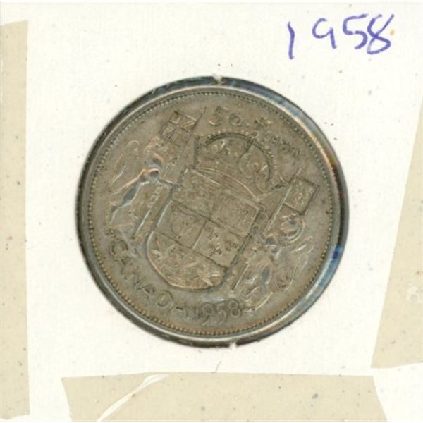 Canadian Silver 50 Cent 1958