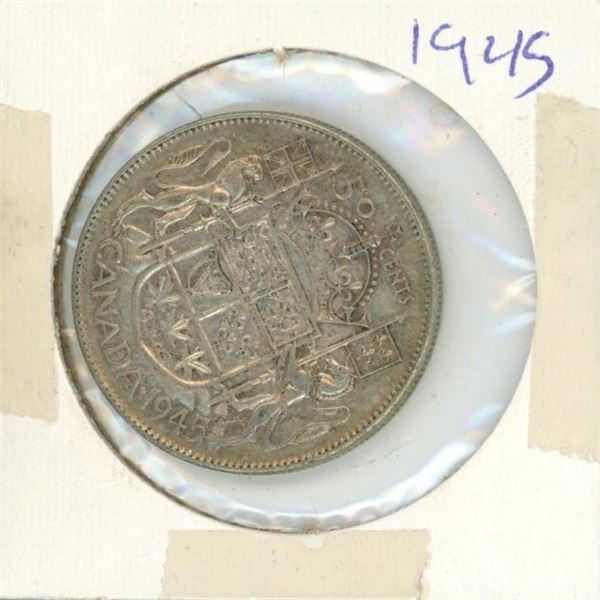 Canadian Silver 50 Cent 1945