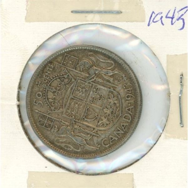 Canadian Silver 50 Cent 1943