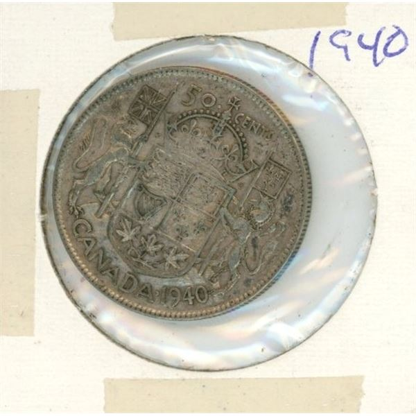 Canadian Silver 50 Cent 1940