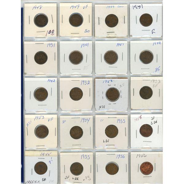 Sheet Of 20 Canadian Pennies 1948-1956