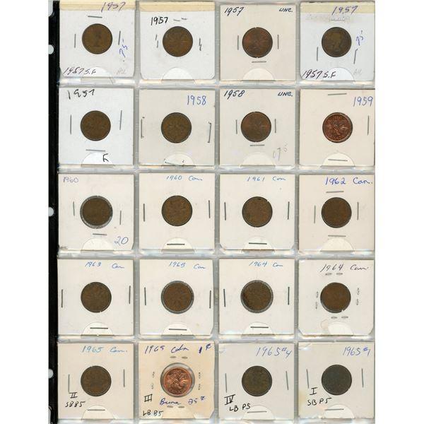 Sheet Of 20 Canadian Pennies 1957-1965