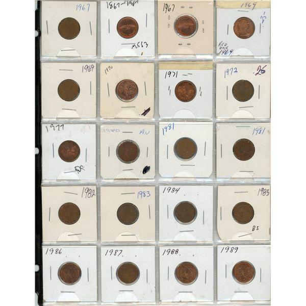 Sheet Of 20 Canadian Pennies 1967-1989
