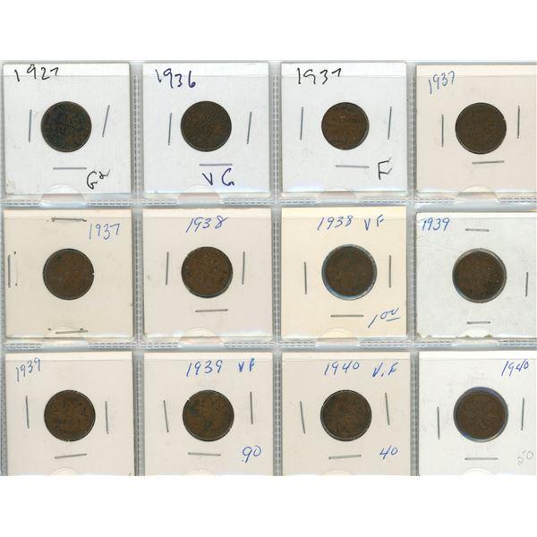 Sheet Of 12 Canadian Pennies 1927-1940