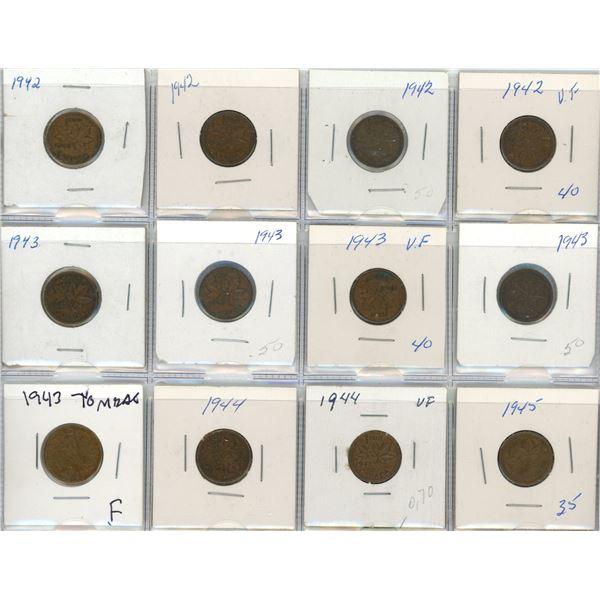 Sheet Of 12 Canadian Pennies 1942-1945