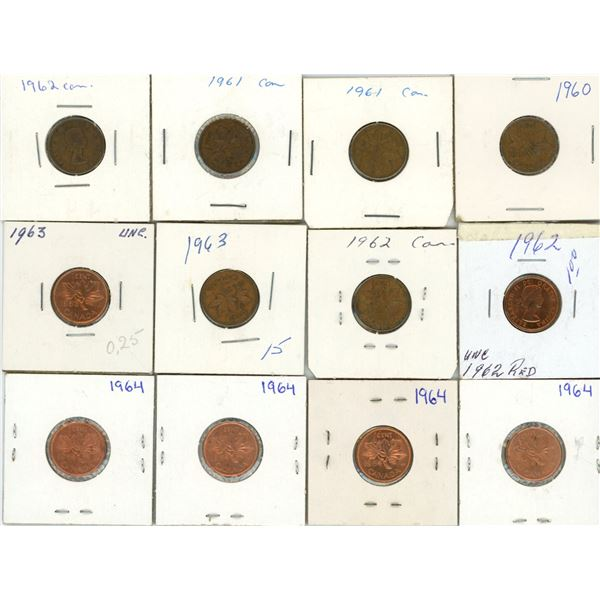 Lot Of 12 Canadian Pennies 1960-1964