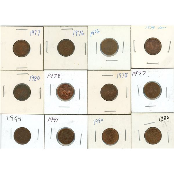 Lot Of 12 Canadian Pennies 1974-1997