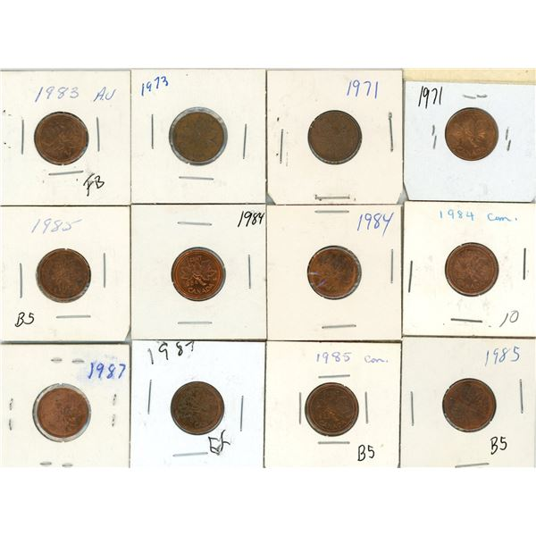 Lot Of 12 Canadian Pennies 1971-1987