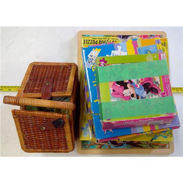 Childs Mini Teapot Set in Basket & 4 Puzzles