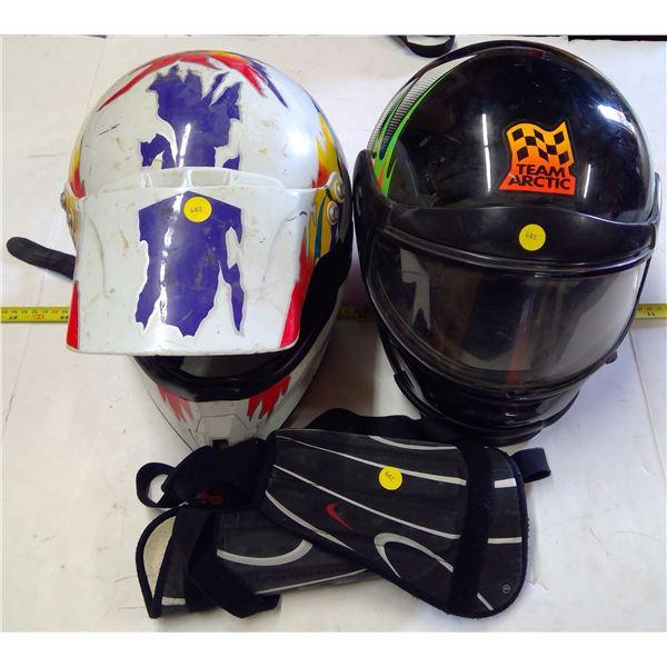 2 - Motorbike Helmets & Shin Guards - sizes unknown