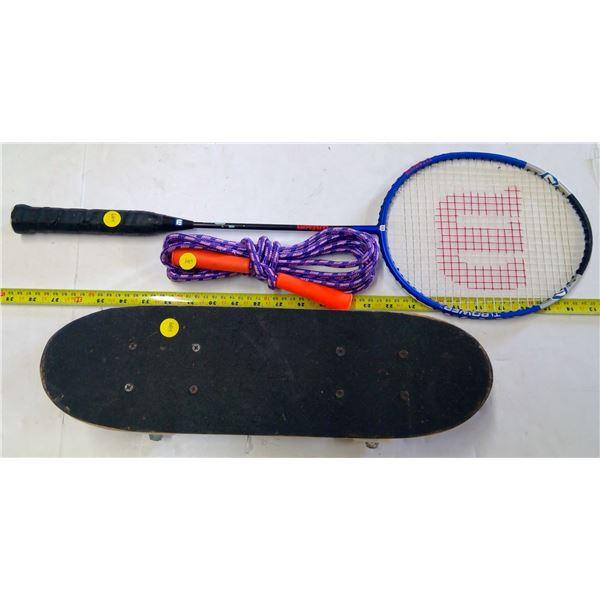 Small Skateboard, Skipping Rope & Badminton Racquet