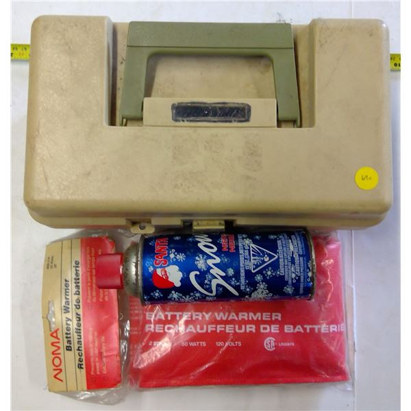 Tacklebox with Lures, Battery Warmer & Snow in a Can
