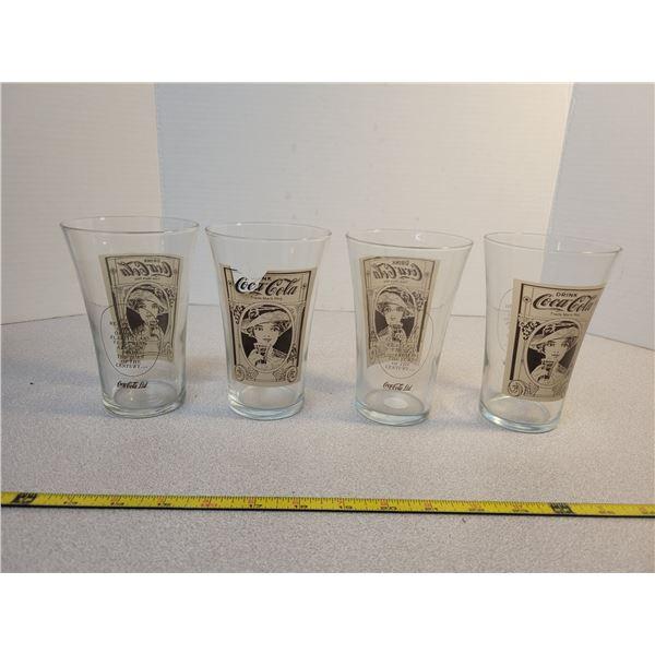 4 Vintage Coca-Cola glasses