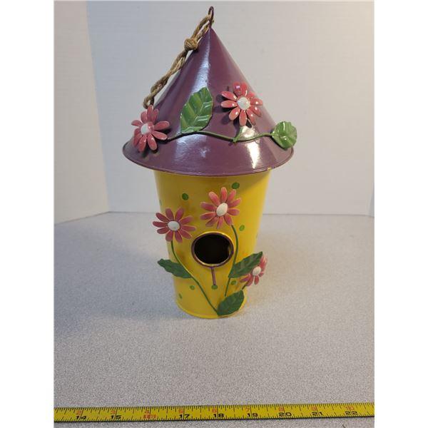 "Metal decorative bird house 12"" tall"