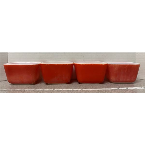 4 vintage Pyrex red fridge bowls