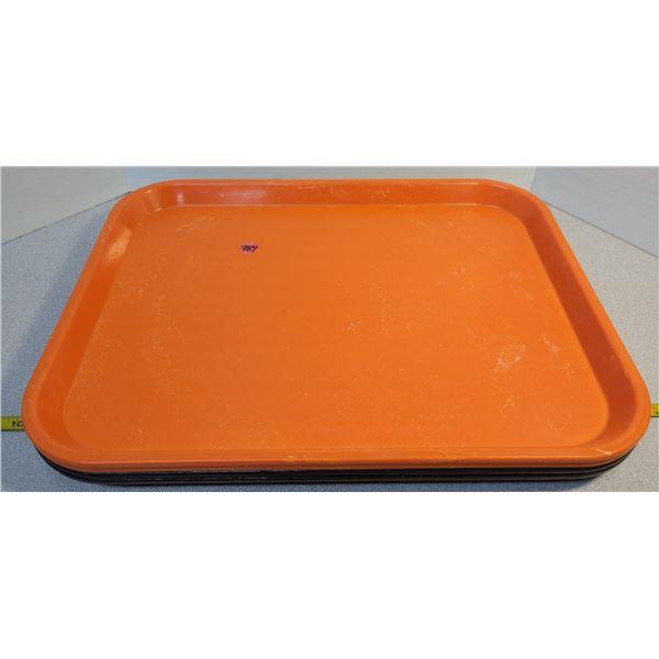 2 orange & 2 brown plastic trays