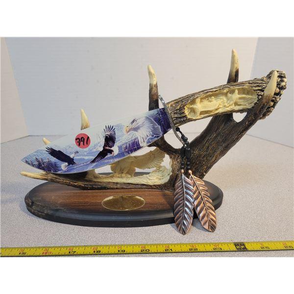 "Decorative Eagles knife display 12"" long"