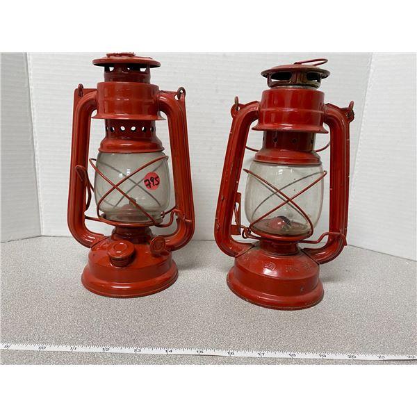 2 red tin decorative coal oil lamps