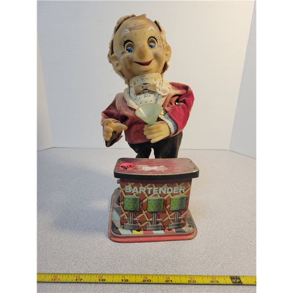 """Vintage battery operated bar tender 12"""" tall"""