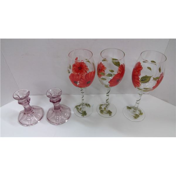 3 Hand Painted Wine Glasses and 2 Candle Holders