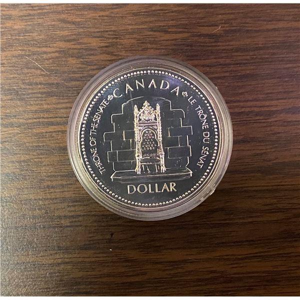 Throne of the senate Canada dollar, silver jubilee 1952-1977